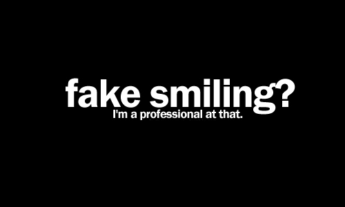 cute, fake, fame smile, professional, sad, smile, text