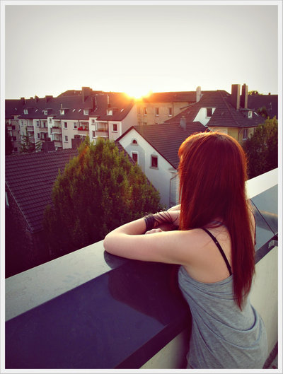 cute, girl, hair, house, purple, sunrise, sunset