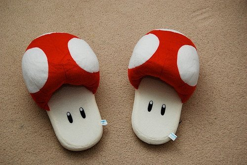 cute, mushroom, pretty, shoes, slippers