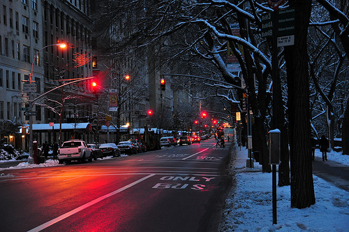dark, evening, light, lights, red, road, snow, street