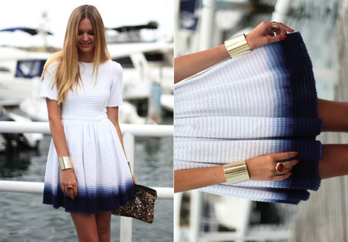 dip dye, dress, girl, look, lookbook