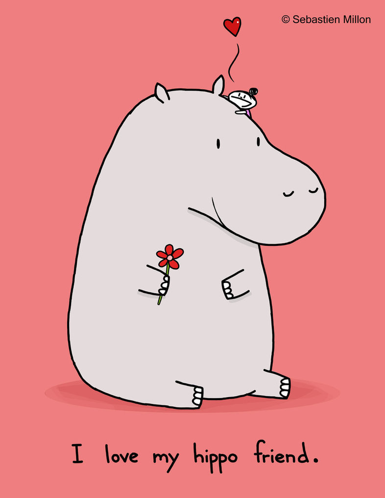 drawing, friend, funny, hippo, love