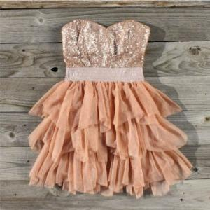 dress, peach, pretty, ruffles, sequins