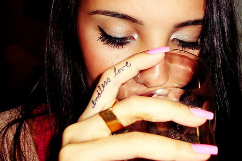 drink, eyeliner, love, tattoo
