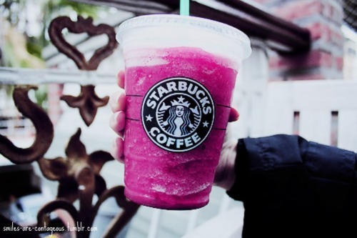 drink, pink, starbucks, yummy