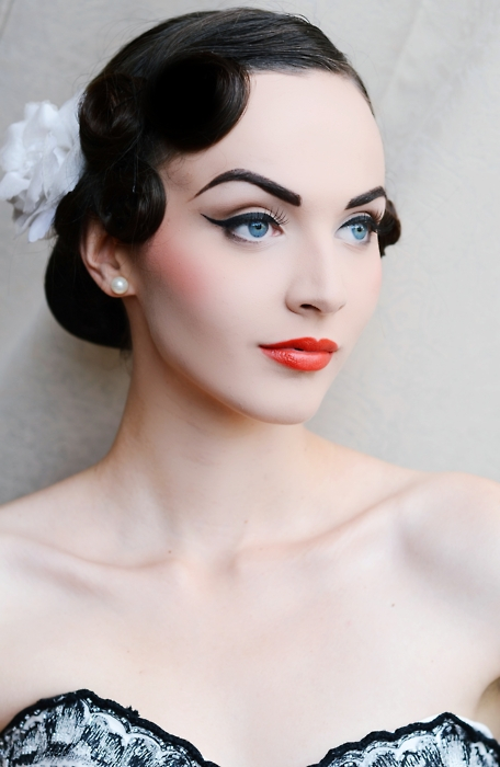eyeliner, hair, hairstyle, idda van munster, makeup, pale, perfect, photography, pin up, red lips, retro, vintage