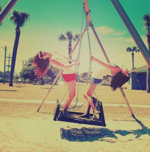 friends, play, swing
