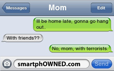 funny, haha, message, smartphowned, stupid, text