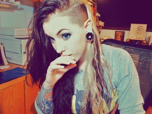 gauges, girl, tattoos
