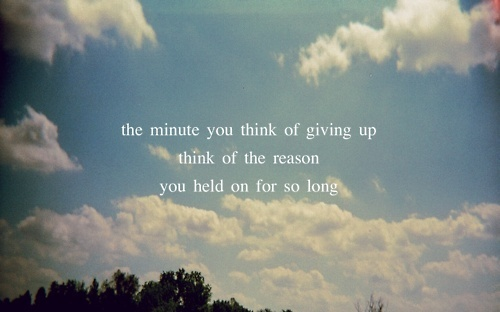 give up, held, minute, sky, typography