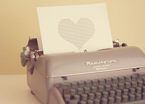 heart, love, typewriter
