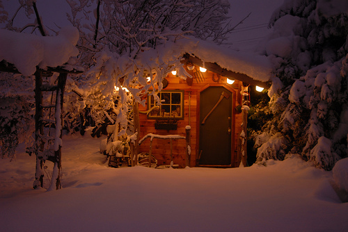 house, lights, snow, winter