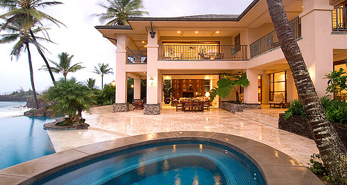 house, luxury, mansion, palm trees, pool