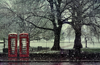london, phone booth, snow