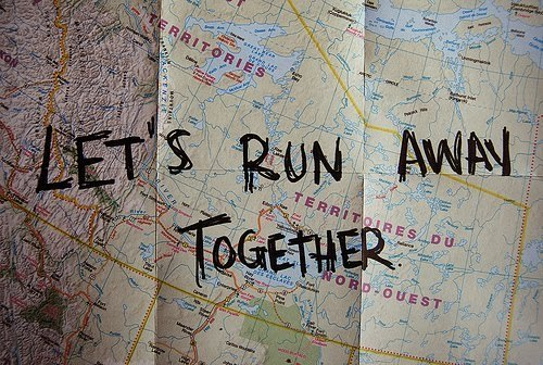 love, map, quote, run away, text, together, world