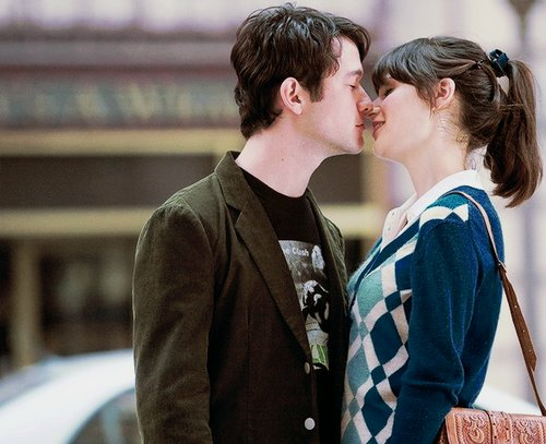 500 days of summer, 500 dias com ela, casal, film, joseph gordon levitt, joseph gordon-levitt, kiss, love, movie, romance, zooey deschanel