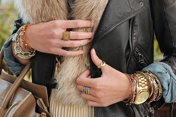 accessories, bracelets, fashion, fur, gold, golden, jacket, leather, leather jacket, rings, watch