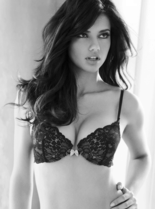 adriana lima, beauty, black and white, brazilian girls, fashion, lingerie, model, victorias secret