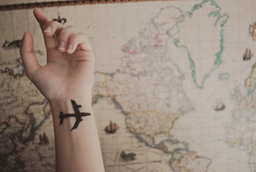 airplane, alone, boy, cold, girl, love, map, tattoo, travel