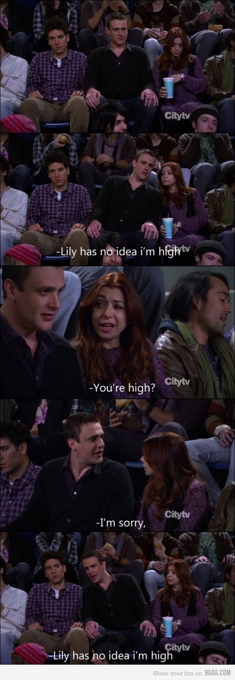 aldrin, eriksen, funny, high, himym, how i met your mother, lily, marshall, mosby, ted