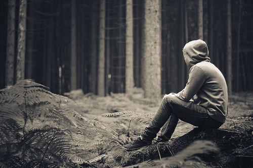 alone, b&w, black and white, boy, ferns, forrest, guy, photography, sit