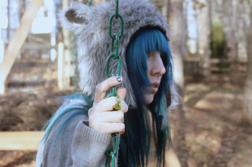 alternative, alternative girl, animal hat, blue hair, fluffy hat, girl, hair, nails, ring, scene, swing