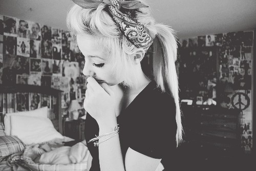 alternative, alternative girl, b&amp;w, bandana, blonde