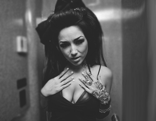 alternative, alternative girl, b&w, black hair, brunette, girl, makeup, melissa marie green, millionaires, sexy, tattoo, tattoos