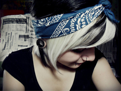 alternative, alternative girl, bandana, black hair, girl, piercing, piercings, plug, plugs, white hair