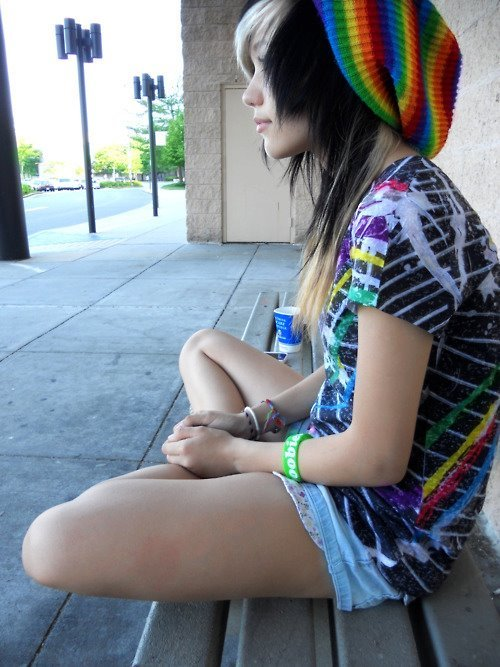 alternative, alternative girl, black hair, blonde, blonde hair, brunette, cute, girl, rainbow, white hair