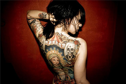 alternative, alternative girl, black hair, brunette, cool, girl, plug, sexy, skull, tattoo, tattoos, woman
