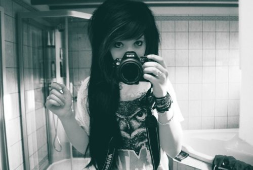alternative, alternative girl brunette, b&amp;w, black hair, camera