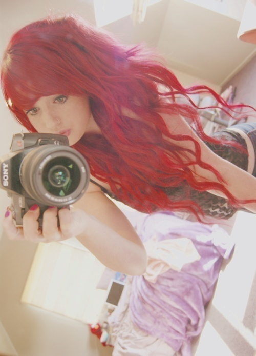 alternative, alternative girl, camera, color hair, curly hair