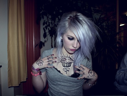 alternative, alternative girl, cupcake, girl, plug, plugs, tattoo, tattoos, white hair