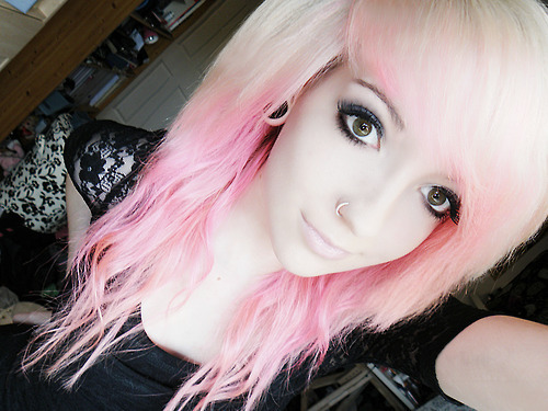 alternative, alternative girl, cute, girl, makeup, piercing, pink hair, plug, plugs, white hair