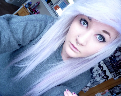 alternative, beautiful, blue eyes, emo, girl, photography, piercing, septum, style, white hair