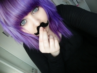 scene girls with purple and black hair  alternative, cute girl, mustache, purple
