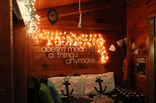 anchor, bed, bedroom, cute, lights