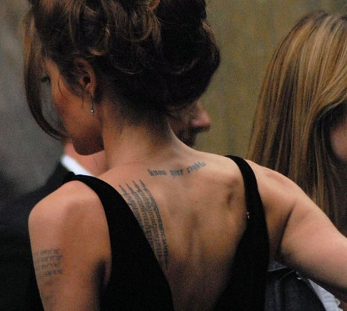 angelina jolie, back, beautiful, bun, hair, hot, photography, tattoo, tattoos