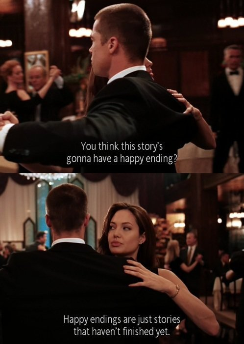 angelina jolie, brad pitt, couple, fact, film, happy ending, movie, quote, sad, stories, story, true, truth