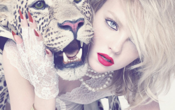 animal, animal print, blond, girl, leopard, lips, print, red