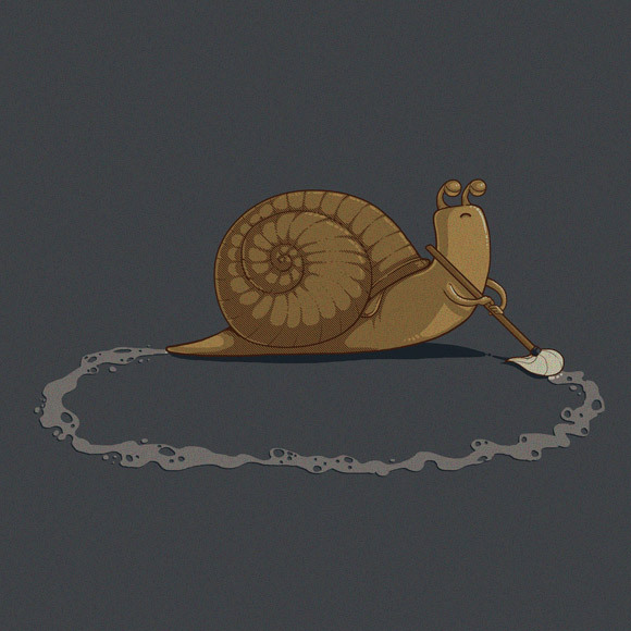 animal, broom, cartoon, cool, drawing, funny, green, humour, job, repeat, repetitive, simple, snail, unamused, work