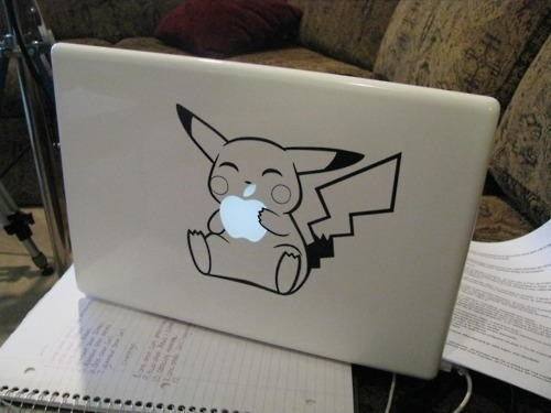 apple, computer, cute, kawaii, pikachu