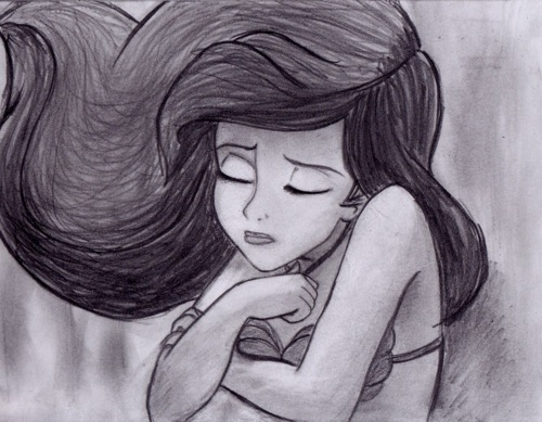 ariel, drawing, hair, little mermaid, pretty, sketch, water