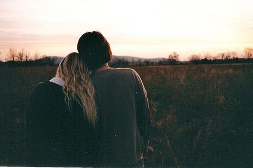 art, back, couple, film, girl, hair, hipster, indie, meadow, nature, photography, vintage