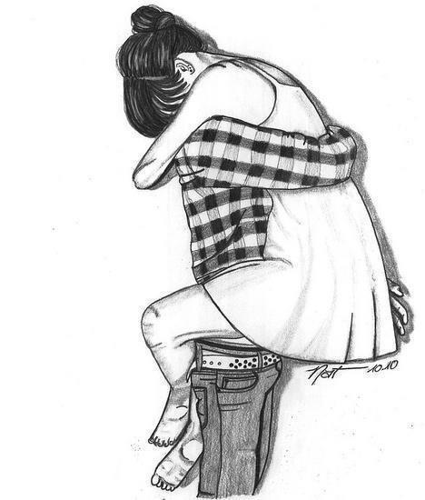 Sketches Of Couples Hugging art, b&,w, couple,...