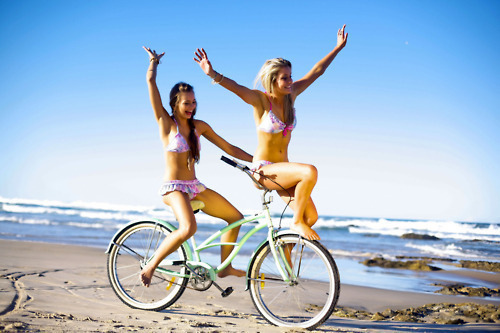 art, beach, beautiful, best friends, bike