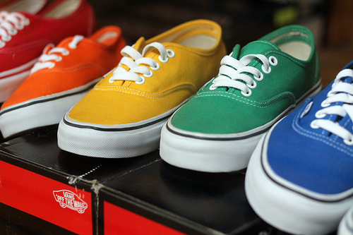 art, beautiful, blue, color, colored, cute, green, shoes, sneakers, vans, yellow