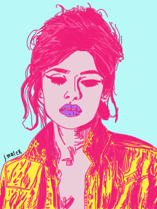 art, blue, bright, colors, drawing, eyeliner, girl, graphic, hair, illustration, jacket, pink, pop art, purple, sketch, yellow