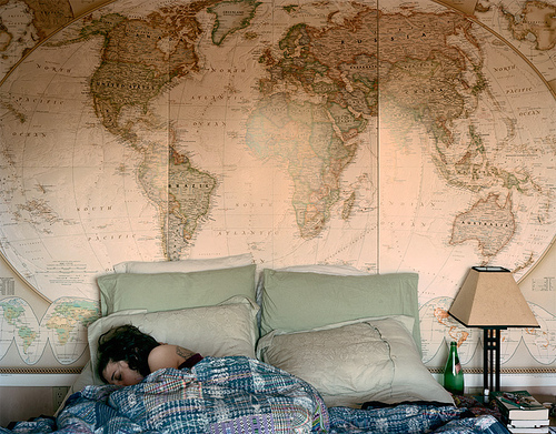 asleep, bed, bedroom, globe, house
